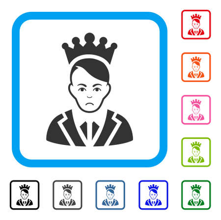 Pitiful Prince vector pictogram. Human face has depression feeling. Black, gray, green, blue, red, orange color versions of prince symbol in a rounded rectangle.