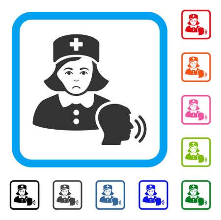 Dolor Psychotherapist Nurse Talking vector pictograph. Human face has depressed sentiment. Black, gray, green, blue, red,