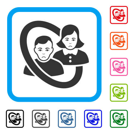 Sadly Ringed People Couple vector pictograph. Person face has sorrow emotions. Black, gray, green, blue, red, pink color variants of ringed people couple symbol in a rounded rectangle.