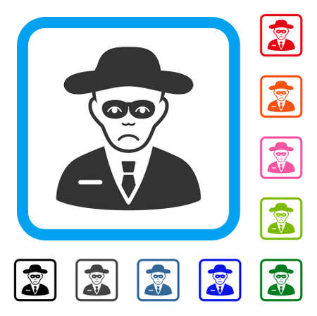 Sad Security Agent vector pictograph. Person face has depressed mood. Black, gray, green, blue, red, orange color versions of security agent symbol inside a rounded square. Ilustração