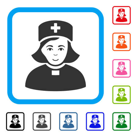 Joy Church Female Doctor vector pictograph. Person face has joy sentiment. Black, grey, green, blue, red, orange color variants of church female doctor symbol in a rounded frame.