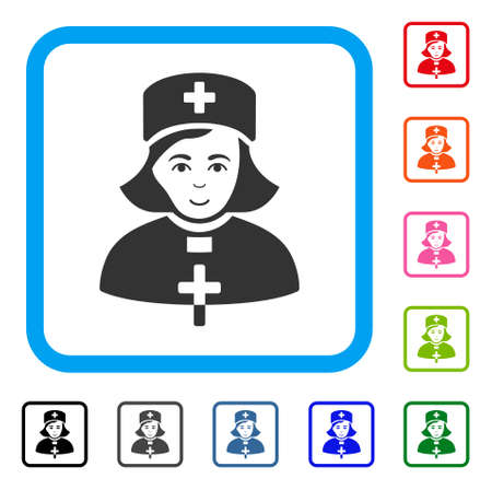 Gladness Church Female Doctor vector icon. Human face has enjoy mood. Black, gray, green, blue, red, orange color versions of church female doctor symbol in a rounded squared frame.