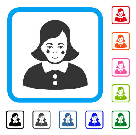 Joy Crying Woman vector pictograph. Human face has joyful emotion. Black, gray, green, blue, red, orange color additional versions of crying woman symbol inside a rounded rectangle.