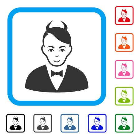 Joy Devil vector icon. Human face has joy emotions. Black, grey, green, blue, red, orange color versions of devil symbol inside a rounded squared frame.