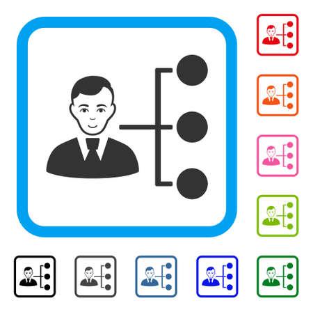 Joyful Distribution Manager vector pictogram. Person face has joyful emotions. Black, grey, green, blue, red, pink color versions of distribution manager symbol inside a rounded square. Illustration