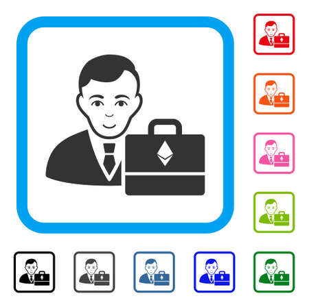 Glad Ethereum Accounter vector pictogram. Human face has glad feeling. Black, grey, green, blue, red, orange color variants of ethereum accounter symbol in a rounded square.