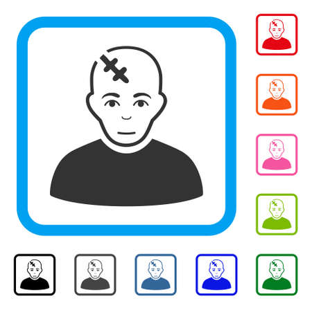 Joy Head Hurt vector icon. Person face has glad mood. Black, grey, green, blue, red, orange color additional versions of head hurt symbol in a rounded squared frame.  イラスト・ベクター素材