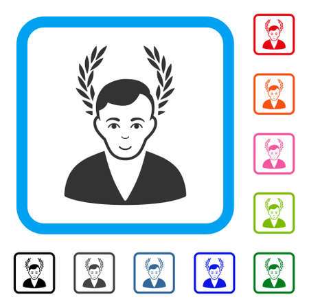 Enjoy Man Glory vector icon. Person face has positive emotions. Black, gray, green, blue, red, orange color variants of man glory symbol inside a rounded rectangular frame. Vectores