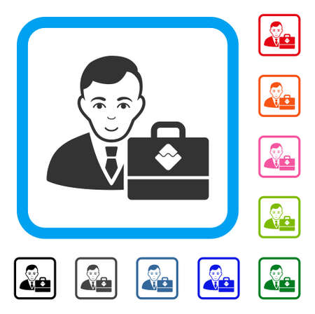Joy Waves Accounter vector pictogram. Person face has enjoy expression. Black, grey, green, blue, red, pink color variants of waves accounter symbol in a rounded frame. Illustration