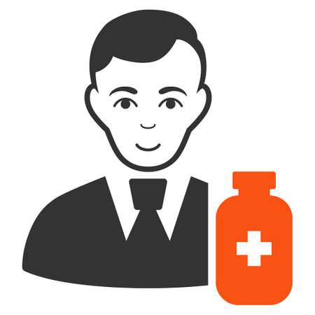 Medical Pharmacist raster flat icon. Person face has smiling feeling.