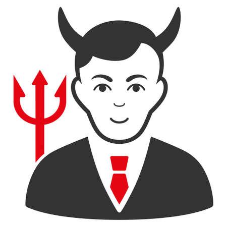 Satan raster flat pictograph. Human face has happy mood. Stock Photo