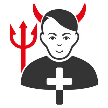 Satan Priest raster flat pictograph. Person face has cheerful feeling.