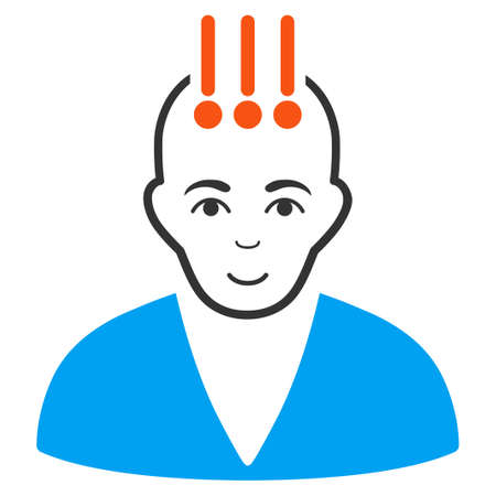 Neural Interface raster flat pictogram. Person face has cheerful feeling. Stock Photo