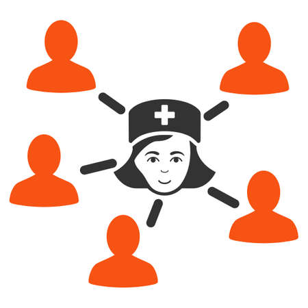 Nurse Linked Patients raster flat icon. Person face has smiling sentiment.
