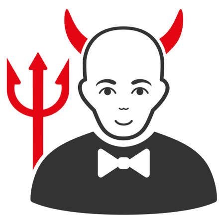 Satan raster flat pictogram. Person face has glad expression.