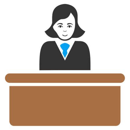 Officiële Lady raster platte pictogram. Persoon gezicht heeft gelukkige emotie. Stockfoto