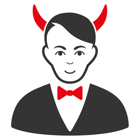 Satan raster flat icon. Person face has joy mood.