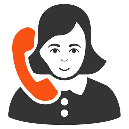 Receptionist raster flat icon. Person face has happy emotion.