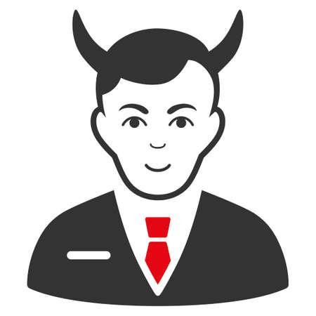 Satan raster flat icon. Person face has enjoy sentiment.
