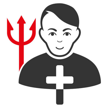 Satan Priest vector flat icon. Person face has joy emotion.