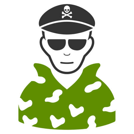 Swat Soldier vector flat pictogram. Person face has cheerful sentiment. Illustration