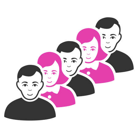 People Queue vector flat pictogram. Human face has enjoy feeling.