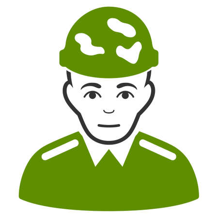 Soldier vector flat icon. Human face has joy expression. Illustration