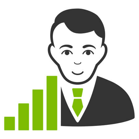 Stock Trader vector flat pictograph. Person face has happiness feeling.