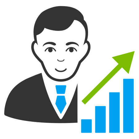 Stock Trader vector flat icon. Person face has glad emotion. Illustration
