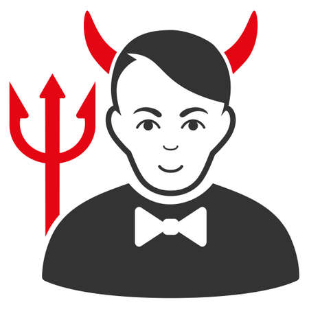 Satan vector flat pictogram. Person face has gladness emotion.