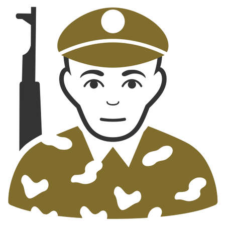 Soldier vector flat icon. Person face has enjoy mood.