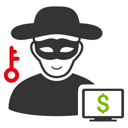 Computer Thief vector flat pictograph. Human face has glad emotion. Illustration