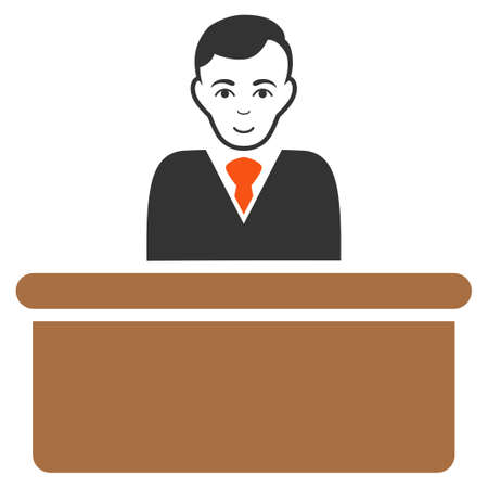 Office Clerk vector flat pictograph. Person face has happy sentiment. 向量圖像