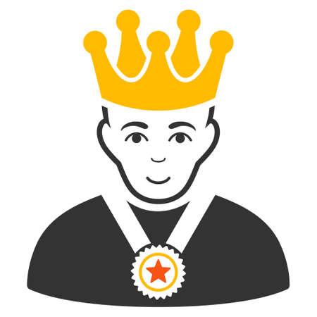 Overlord Boss vector flat pictograph. Human face has joyful emotions. Illusztráció