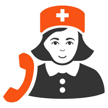 Receptionist Nurse vector flat pictogram. Human face has happy emotions. Illustration