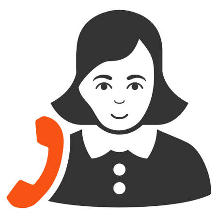 Receptionist Woman vector flat pictograph. Person face has enjoy emotion.