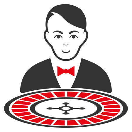 Roulette Croupier vector flat pictograph. Person face has joy mood.