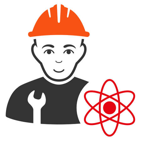 Scientist Engineer vector flat icon. Human face has cheerful emotion. Illustration