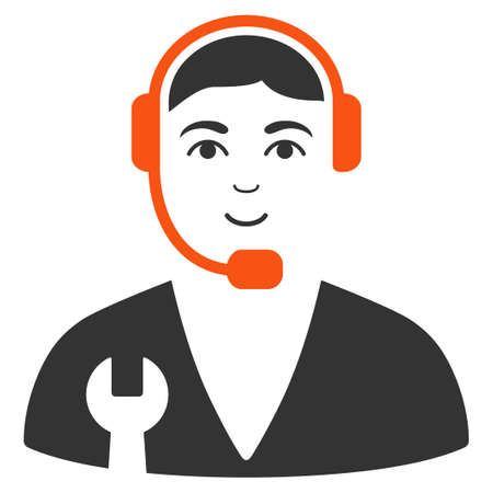 Service Operator vector flat pictograph. Person face has positive feeling.