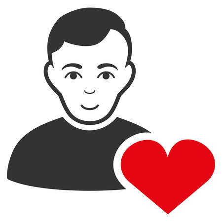 User Favourites Heart vector flat pictogram. Human face has happiness emotions.