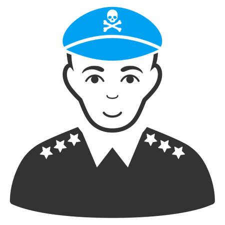 Evil Army General vector pictograph. Flat pictograph designed with blue and gray. Human face has happy emotion.