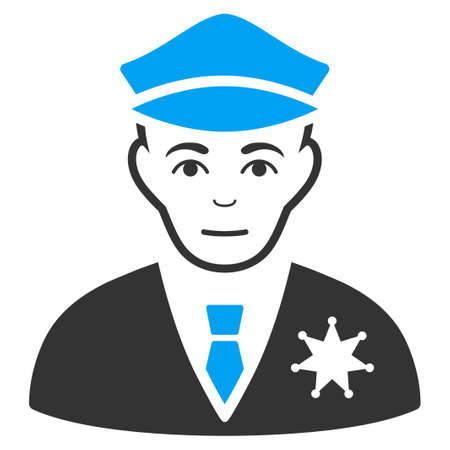 Policeman vector icon. Flat bicolor pictogram designed with blue and gray. Human face has happy feeling.