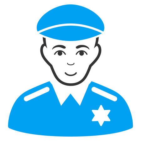 Sheriff vector pictograph. Flat bicolor pictogram designed with blue and gray. Person face has glad emotions.