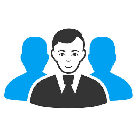 User Group vector icon. Flat pictograph designed with blue and gray. Person face has glad sentiment.