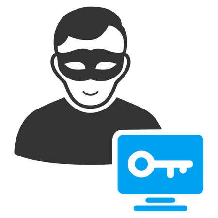 Computer Hacker vector pictograph. Flat bicolor pictogram designed with blue and gray. Human face has happy feeling.