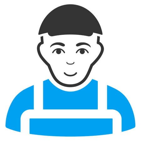Worker vector icon. Flat pictograph designed with blue and gray. Person face has joyful emotions. Illustration