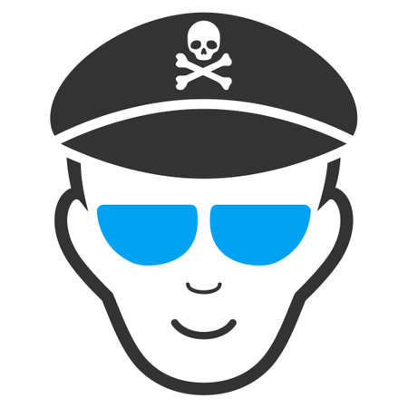 Evil Soldier Face vector icon. Flat bicolor pictogram designed with blue and gray. Person face has positive mood.