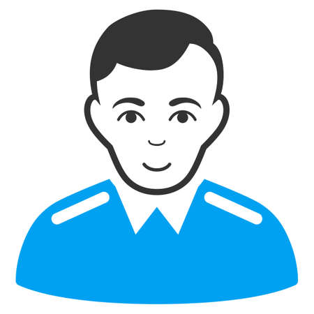 Officer vector icon. Flat bicolor pictogram designed with blue and gray. Human face has joyful sentiment. Illustration