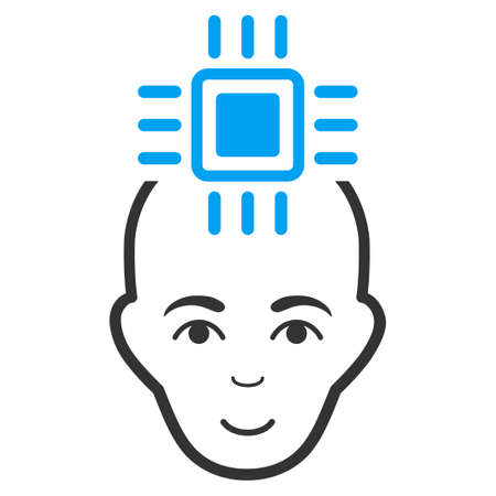 Neural Computer Interface vector pictograph. Flat bicolor pictogram designed with blue and gray. Person face has cheerful emotions. Illustration