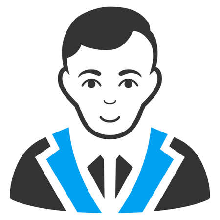 Noble Gentleman vector icon. Flat bicolor pictogram designed with blue and gray. Human face has cheerful sentiment. Illustration